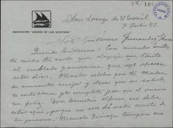 Carta de Xavier Cabello Lapiedra a Guillermo Fernández-Shaw, contestando a una suya y dando noticias de los veraneantes de El Escorial.