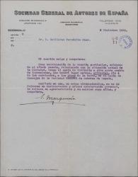 Carta de Eduardo Marquina a Guillermo Fernández-Shaw, invitándole a una reunión particular de la Sociedad de Autores.