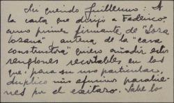 """Tarjeta de visita de Arturo Cuyás de la Vega a Guillermo Fernández-Shaw, felicitándole por el éxito de """"Loza lozana""""."""