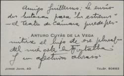 Tarjeta de visita de Arturo Cuyás de la Vega a Guillermo Fernández-Shaw, enviándole dos butacas para un teatro de cámara.