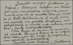 """Tarjeta de visita de Arturo Cuyás de la Vega a Guillermo Fernández-Shaw, felicitándole por el éxito de la obra """"Un día de primavera""""."""