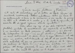 """Carta de Arturo Cuyás de la Vega a Guillermo Fernández-Shaw y Federico Romero, ratificándose en su opinión favorable de la obra """"Pepita Romero"""" tras una segunda audición de la misma."""