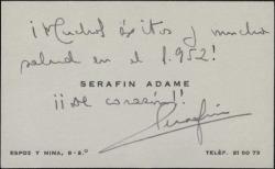 Tarjeta de visita de Serafín Adame a Guillermo Fernández-Shaw, con una felicitación para 1952.