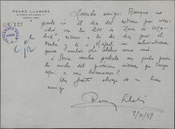 Carta de Pedro Llabrés a Guillermo Fernández-Shaw, felicitándole por un éxito teatral.