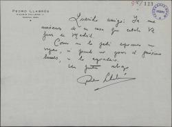Carta de Pedro Llabrés a Guillermo Fernández-Shaw, pidiéndole una cita.