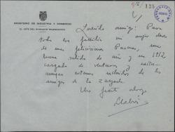 Carta de Pedro Llabrés a Guillermo Fernández-Shaw, felicitándole las Pascuas y el Año Nuevo.