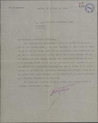 Carta de Felipe Sassone a Guillermo Fernández-Shaw, agradeciéndole unos versos a él dedicados.