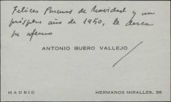 Tarjeta de visita de Antonio Buero Vallejo a Guillermo Fernández-Shaw, con una felicitación de Navidad.