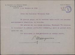 Carta de Eduardo Marquina a Guillermo Fernández-Shaw, acusando recibo de su carta con unos poemas y anunciando un estreno suyo.