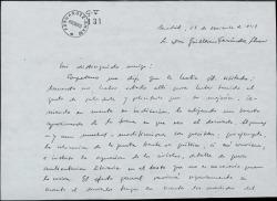 Carta de Antonio Buero Vallejo a Guillermo Fernández-Shaw, enviándole un boceto para un decorado, con comentarios sobre el mismo.