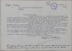 Carta de Rafael Narbona a Guillermo Fernández-Shaw, agradeciendo los elogios que ha hecho de su obra y preguntando la posibilidad de estrenarla.