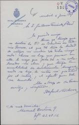 """Carta de Rafael Narbona a Guillermo Fernández-Shaw, pidiendo que le devuelva su obra """"La dicha imaginada"""" ya que no ha sido posible su estreno."""