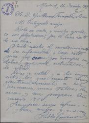Carta de Pablo Torremocha a Guillermo Fernández-Shaw, agradeciendo su felicitación por el éxito de su obra.