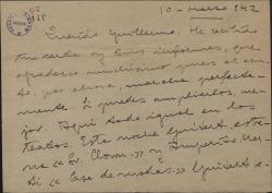 """Carta de Valentín Moragas Roger a Guillermo Fernández-Shaw, con comentarios teatrales y sobre un proyecto al que llama """"El libro de la patria""""."""
