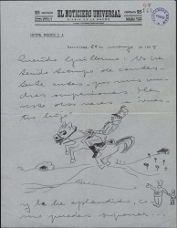 Carta de Valentín Moragas Roger a Guillermo Fernández-Shaw, enviándole unas señas que éste le había pedido.