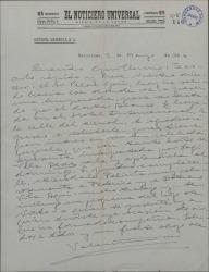 Carta de Valentín Moragas Roger a Guillermo Fernández-Shaw, pidiéndole que vaya a visitar a su director, el Sr. Palou y le proporcione, si puede, entradas para el teatro.