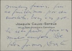 Tarjeta de visita de Joaquín Calvo-Sotelo a Guillermo Fernández-Shaw, agradeciéndole su cuarteta y su felicitación.