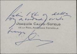 Tarjeta de visita de Joaquín Calvo-Sotelo a Guillermo Fernández-Shaw, con una felicitación de Año Nuevo.