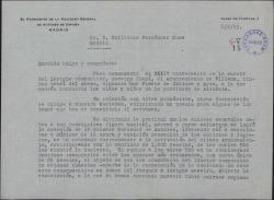 Carta de Eduardo Marquina a Guillermo Fernández-Shaw, dándole cuenta, como presidente de la Sociedad de Autores, de una decisión tomada por la misma.