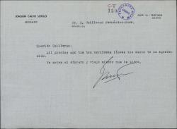 Carta de Joaquín Calvo-Sotelo a Guillermo Fernández-Shaw, agradeciéndole su felicitación.