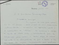 """Carta de Javier Regás a Guillermo Fernández-Shaw, acusando recibo de su carta y de un ejemplar de """"Bolero""""."""