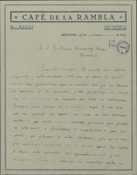 """Carta de Javier Regás a Guillermo Fernández-Shaw, agradeciéndole el interés con que se ha ocupado de todo lo relacionado con """"Bolero""""."""