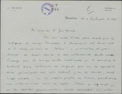 Carta de Javier Regás a Guillermo Fernández-Shaw, lamentándose de sus muchas ocupaciones y dándole noticias teatrales.