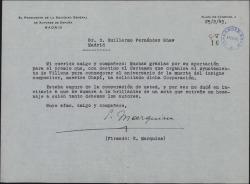 Carta de Eduardo Marquina a Guillermo Fernández-Shaw, agradeciéndole la cooperación en el homenaje a Chapí.