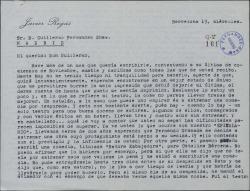 Carta de Javier Regás a Guillermo Fernández-Shaw, contándole detenidamente varias incidencias que explican su mal estado de ánimo respecto al teatro.