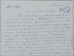 """Carta de Javier Regás a Guillermo Fernández-Shaw, con comentarios sobre """"Epitalamio"""" y """"Tobruck""""."""