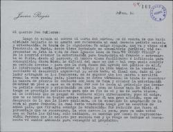 Carta de Javier Regás a Guillermo Fernández-Shaw, pidiéndole consejo sobre la adaptación que pretende hacer de una comedia de Juan Ignacio Luca de Tena.