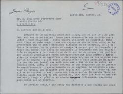 """Carta de Javier Regás a Guillermo Fernández-Shaw, comunicándole el próximo estreno de su obra """"Hymeneo"""", con otro título."""