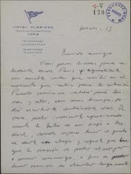 Carta de Javier Regás a Guillermo Fernández-Shaw, saludando desde París y dando su opinión sobre el teatro francés contemporáneo.