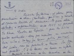 Carta de Eduardo M. del Portillo a Guillermo Fernández-Shaw, insistiendo en que se presente al premio Literario March y pidiéndole interceda por él en la Sociedad de Autores para poder cobrar un dinero que le adeudan.