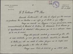 Carta de Javier de Burgos a Guillermo Fernández-Shaw, hablándole de las obras teatrales que tiene escritas pero sin estrenar.