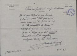 """Carta de Javier de Burgos a Guillermo Fernández-Shaw, solicitándole dos butacas para """"El canastillo de fresas"""" mediante una poesía festiva."""