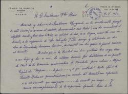 Carta de Javier de Burgos a Guillermo Fernández-Shaw, enviando un soneto y quejándose de la Sociedad de Autores.