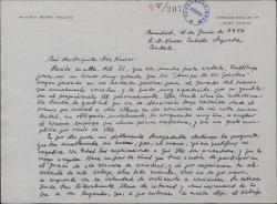 """Carta de Antonio Buero Vallejo a Xavier Cabello Lapiedra, explicando porque no acepta el cargo de jurado para el premio que conceden los """"Amigos de los Quintero""""."""
