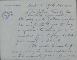 Carta de Adolfo Torrado a Guillermo Fernández-Shaw, recomendándole a un aspirante a un cargo.