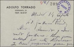 Tarjeta de Adolfo Torrado a Guillermo Fernández-Shaw, pidiéndole que interceda a favor de un conocido suyo, solicitante de la concesión del bar del Teatro de la Zarzuela.