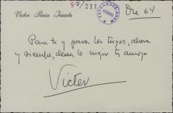 Tarjeta de Víctor Ruiz Iriarte felicitando a Guillermo Fernández-Shaw.