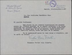 Carta de Víctor Ruiz Iriarte a Guillermo Fernández-Shaw, citándole para una gestión.