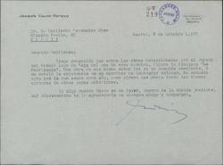 """Carta de Joaquín Calvo-Sotelo a Guillermo Fernández-Shaw, pidiéndole tenga en cuenta para el Premio Lope de Vega de cuyo jurado es miembro la obra """"La madriguera""""."""