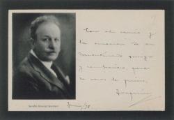 Tarjeta de Joaquín Álvarez Quintero, con la fotografía de su hermano Serafín recién fallecido, a Guillermo Fernández-Shaw, con unas emocionadas palabras.