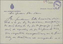 Tarjeta de Joaquín Calvo-Sotelo a Guillermo Fernández-Shaw, disculpándose por no poder asistir a un funeral.