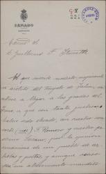 Carta de José Tellaeche a Guillermo Fernández-Shaw, pidiéndole audiencia, de forma humorística, para felicitarle.