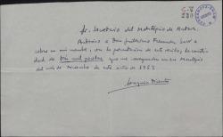 Autorización de Joaquín Dicenta a Guillermo Fernández-Shaw para cobrar una cantidad en su nombre.