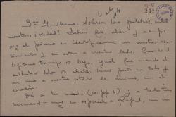 Carta de Serafín Adame a Guillermo Fernández-Shaw, dándole un pésame.