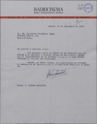 Carta de Joaquín Romero Marchent a Guillermo Fernández-Shaw, dándole el pésame por el fallecimiento de su hermano.