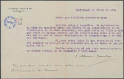 Carta de Joaquín Álvarez Quintero a Guillermo Fernández-Shaw, agradeciéndole su felicitación por un reciente nombramiento así como por sus éxitos.